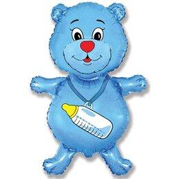 """Шар на выписку из роддома - надувной шарик """"Медвежонок с бутылочкой"""" (голубой) для малыша"""