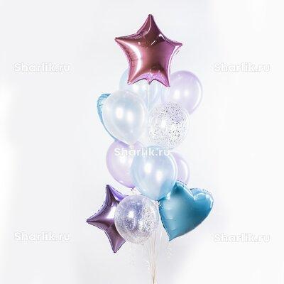 Фонтан из шаров с розовой и сиреневой звездами, голубыми сердцами и серебряным конфетти
