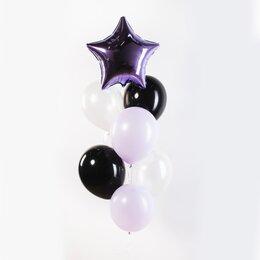 Фонтан из шаров с фиолетовой звездой и черно-белыми шарами