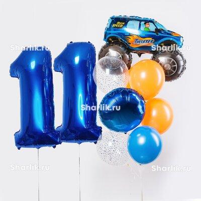 Фонтан из шаров с цифрами, синим Внедорожником, синим шаром-кругом и оранжевыми шарами