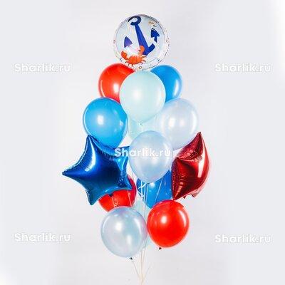 Фонтан из шаров с синей и красной звездой, шаром с якорем и крабом