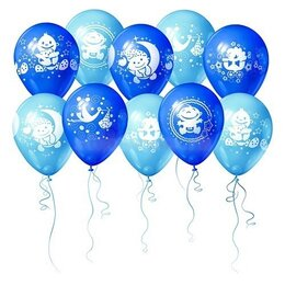 Фольгированные гелиевые шары на выписку для мальчика