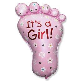 """Фольгированный фигурный шарик """"Пяточка"""" (розовая) на выписку новорожденной девочке"""