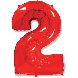 """Воздушный шар-цифра """"2"""" красного цвета"""