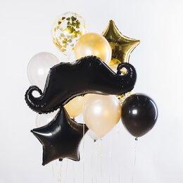 Фонтан из шаров с черными усами, золотыми конфетти и звездой и бело-персиковыми шариками