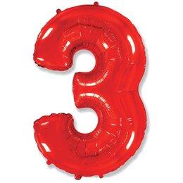 """Воздушный шар-цифра  """"3"""" красного цвета"""