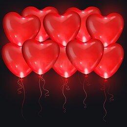 Светящиеся красные шары в форме сердца (40 см)