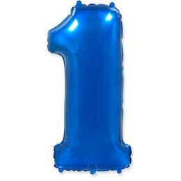 """Воздушный шар-цифра """"1"""" синего цвета"""