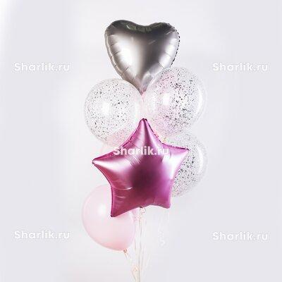 Фонтан из шаров с розовой звездой, серебряными сердцем и конфетти