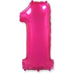 """Воздушный шар в виде цифры """"1"""" розового цвета"""