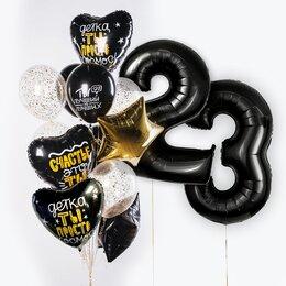 Фонтан из шаров с цифрами, золотой звездой и черными сердцами с надписью: Детка, ты просто космос!