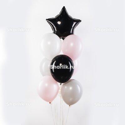 Фонтан из шаров с черной звездой, черным шаром и светлыми шариками
