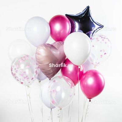 Фонтан из шаров с темно-серебряной звездой, розовыми сердцем и бело-розовыми шарами