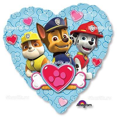 Шарик-сердце с героями Щенячий патруль