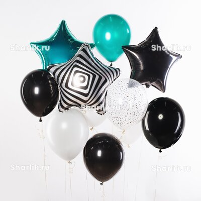 Фонтан из шаров со звездой-сафари, тиффани и черно-белыми шарами