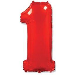 """Надувной шарик красного цвета с цифрой """"1"""""""