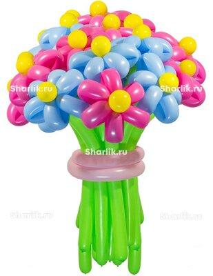 Цветы из шаров, голубые и розовые (1 цветок)