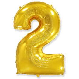 """Гелиевый шар-цифра """"2"""" золотого цвета"""