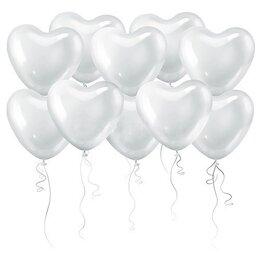 Белые воздушные шары в форме сердца - наполнены гелием