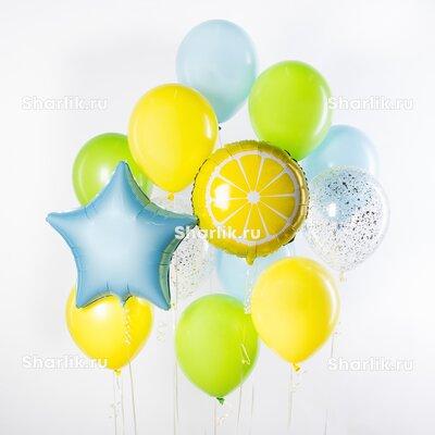 Фонтан из шаров с кусочком лимона, голубой звездой и желто-салатовыми шарами