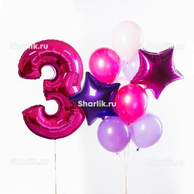 Фонтан из шаров с цифрой, сиреневыми и розовыми шарами и звездами фиолетового и фуксия цвета