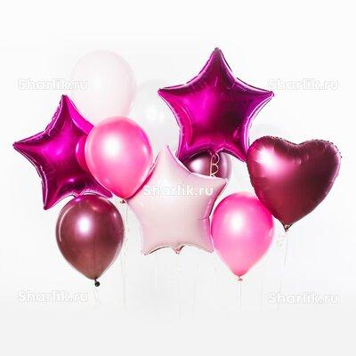 Фонтан из шаров с розовыми звездами, розовым сердцем и розовыми шарами хром