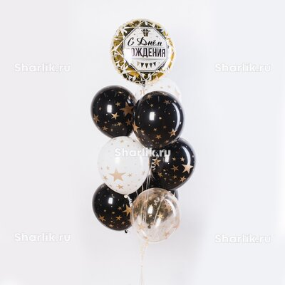Фонтан из шаров латексных черно-белых со звездами и фольгированного бело-золотого круга с надписью С днем рождения