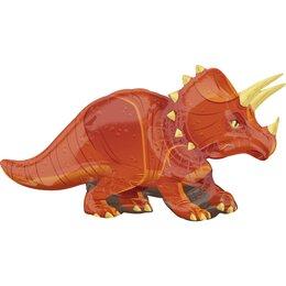 Фигурный шар Динозавр Трицератопс оранжевый