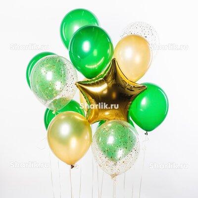 Фонтан из шаров с золотой звездой, зелеными и золотыми шарами