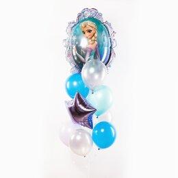 Фонтан из шаров с Эльзой Холодное сердце, прозрачно-голубыми шарами и серебряной звездой