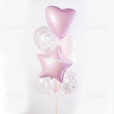 Фонтан из шаров с розовыми сердцем и звездой, светлыми шарами и розовым конфетти