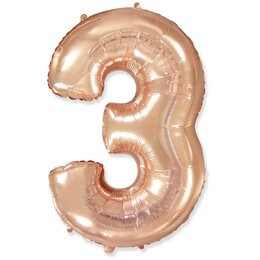 """Воздушный шарик-цифра """"3"""" цвета розовое золото"""