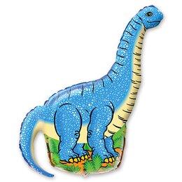 Фигурный шар Динозавр диплодок голубой