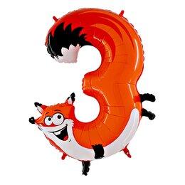 """Воздушный шар в виде цифры """"3"""" - объемная фигура """"Лисенок"""""""