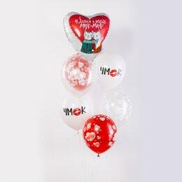 Фонтан из шаров С большим красно-белым сердцем с кошечками и надписью У меня к тебе мур-мур и белыми шарами Чмок