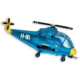 Фигурный шар вертолет голубой