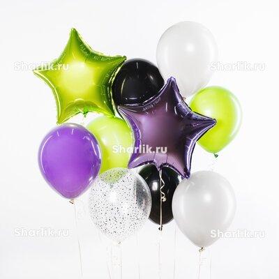 Фонтан из шаров с салатовыми, белыми и черными шарами и салатовой с сиреневой звездами