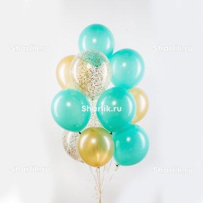 Фонтан из шаров с голубыми и золотыми шарами и с золотым конфетти
