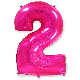 """Воздушный розовый шарик-цифра """"2"""""""