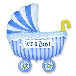 """Шар на выписку из роддома - надувной воздушный шар """"Коляска"""" (голубая) для мальчика"""