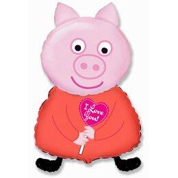 Фигурный шар Свинка Пеппа с сердечком