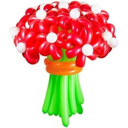 Красные цветы из шаров  (1 цветок)
