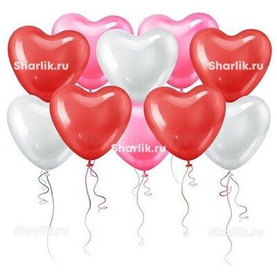 Шары в форме сердца 3-х цветов (40 см)