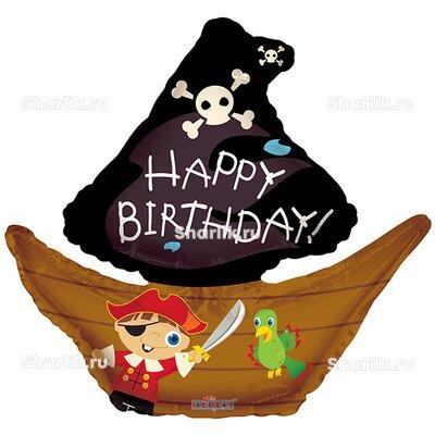 Фигурный шар Happy birthday (Пиратский корабль)