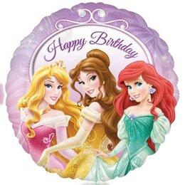 Шарик-круг С днём рождения (принцессы)