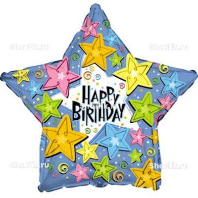 Шарик-звезда Happy Birthday