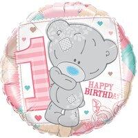 Шарик-круг Мишка Тедди девочка, 1 годик
