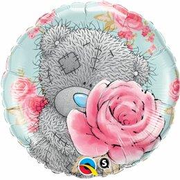 Шарик-круг Мишка Тедди с розой