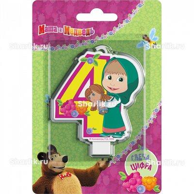 Свеча фигурная Маша и Медведь цифра 4