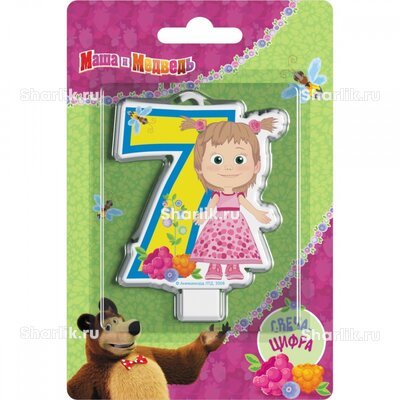 Свеча фигурная Маша и Медведь цифра 7